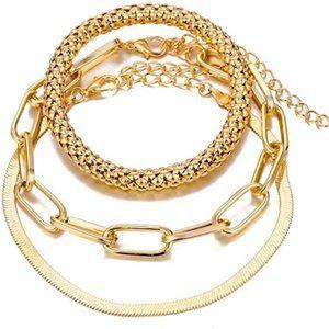AWESOME 3PC 18K GOLD CHAIN TRENDY BRACELET SET